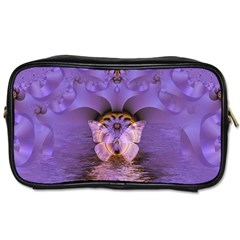 Artsy Purple Awareness Butterfly Travel Toiletry Bag (one Side) by FunWithFibro