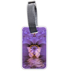 Artsy Purple Awareness Butterfly Luggage Tag (two Sides) by FunWithFibro