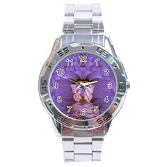 Artsy Purple Awareness Butterfly Stainless Steel Watch by FunWithFibro