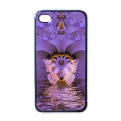 Artsy Purple Awareness Butterfly Apple Iphone 4 Case (black) by FunWithFibro
