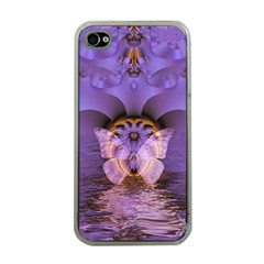 Artsy Purple Awareness Butterfly Apple Iphone 4 Case (clear) by FunWithFibro