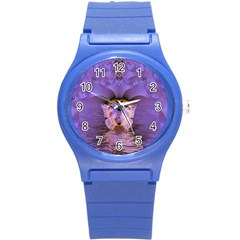 Artsy Purple Awareness Butterfly Plastic Sport Watch (small) by FunWithFibro