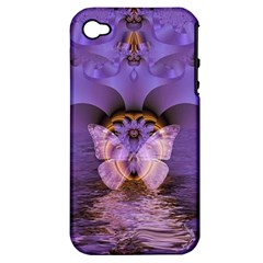 Artsy Purple Awareness Butterfly Apple Iphone 4/4s Hardshell Case (pc+silicone) by FunWithFibro