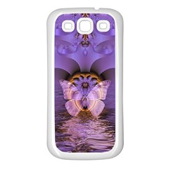 Artsy Purple Awareness Butterfly Samsung Galaxy S3 Back Case (white) by FunWithFibro