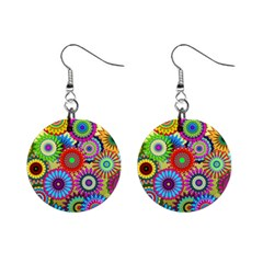 Psychedelic Flowers Mini Button Earrings