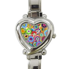 Psychedelic Flowers Heart Italian Charm Watch  by StuffOrSomething