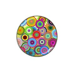 Psychedelic Flowers Golf Ball Marker 4 Pack (for Hat Clip)