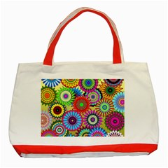 Psychedelic Flowers Classic Tote Bag (red)