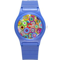 Psychedelic Flowers Plastic Sport Watch (small) by StuffOrSomething