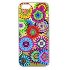 Psychedelic Flowers Apple Seamless Iphone 5 Case (clear) by StuffOrSomething