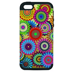 Psychedelic Flowers Apple Iphone 5 Hardshell Case (pc+silicone) by StuffOrSomething