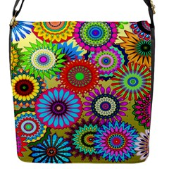 Psychedelic Flowers Flap Closure Messenger Bag (small) by StuffOrSomething