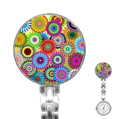 Psychedelic Flowers Stainless Steel Nurses Watch by StuffOrSomething