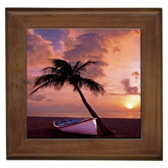 Sunset At The Beach Framed Ceramic Tile by StuffOrSomething