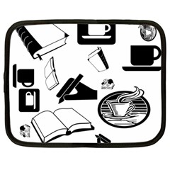 Books And Coffee Netbook Sleeve (large) by StuffOrSomething