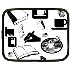 Books And Coffee Netbook Sleeve (xl) by StuffOrSomething
