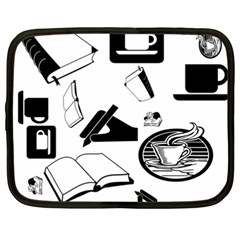 Books And Coffee Netbook Sleeve (xxl) by StuffOrSomething