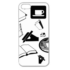 Books And Coffee Apple Seamless Iphone 5 Case (clear) by StuffOrSomething