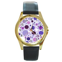 Purple Awareness Dots Round Leather Watch (gold Rim)  by FunWithFibro