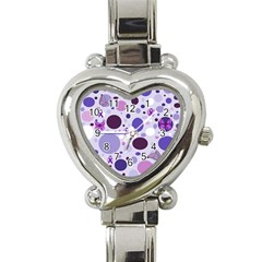 Purple Awareness Dots Heart Italian Charm Watch  by FunWithFibro