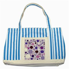 Purple Awareness Dots Blue Striped Tote Bag by FunWithFibro
