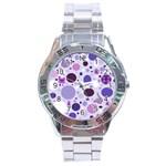 Purple Awareness Dots Stainless Steel Watch Front