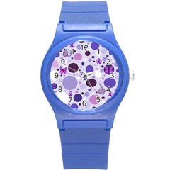 Purple Awareness Dots Plastic Sport Watch (small) by FunWithFibro