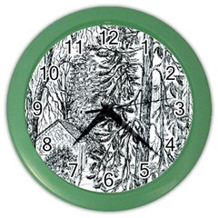 castle Yard In Winter  By Ave Hurley Of Artrevu   Color Wall Clock by ArtRave2