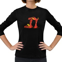 Bigfoot Walker Women s Long Sleeve T Shirt (dark Colored)