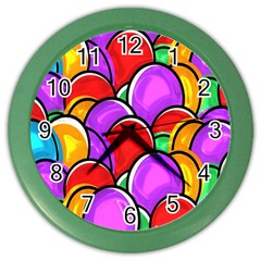 Colored Easter Eggs Wall Clock (color) by StuffOrSomething