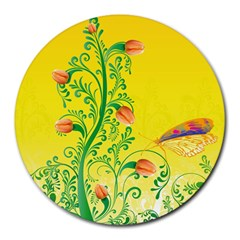 Whimsical Tulips 8  Mouse Pad (round) by StuffOrSomething