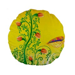 Whimsical Tulips 15  Premium Round Cushion  by StuffOrSomething