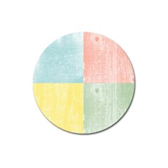 Pastel Textured Squares Magnet 3  (round) by StuffOrSomething