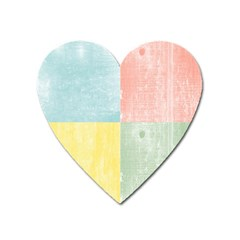 Pastel Textured Squares Magnet (heart) by StuffOrSomething