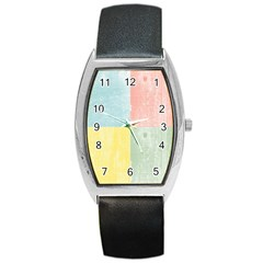 Pastel Textured Squares Tonneau Leather Watch by StuffOrSomething