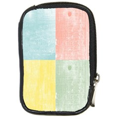 Pastel Textured Squares Compact Camera Leather Case by StuffOrSomething