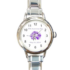 Fms Awareness Day 2014 Round Italian Charm Watch by FunWithFibro