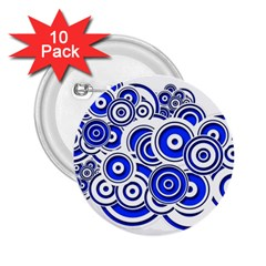 Trippy Blue Swirls 2 25  Button (10 Pack) by StuffOrSomething