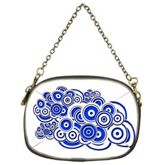 Trippy Blue Swirls Chain Purse (two Sided)