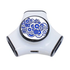 Trippy Blue Swirls 3 Port Usb Hub