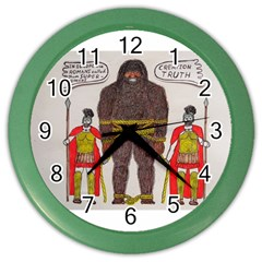 Big Foot & Romans Wall Clock (color) by creationtruth