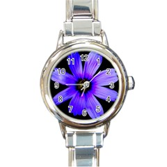 Purple Bloom Round Italian Charm Watch by BeachBum