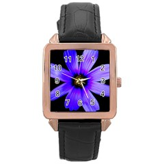Purple Bloom Rose Gold Leather Watch  by BeachBum