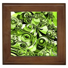 Retro Green Abstract Framed Ceramic Tile by StuffOrSomething