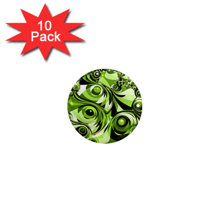 Retro Green Abstract 1  Mini Button Magnet (10 pack)