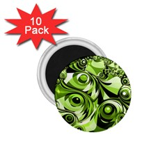 Retro Green Abstract 1 75  Button Magnet (10 Pack) by StuffOrSomething