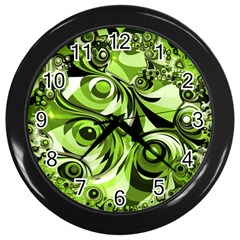 Retro Green Abstract Wall Clock (black) by StuffOrSomething