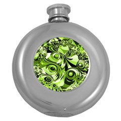 Retro Green Abstract Hip Flask (round) by StuffOrSomething