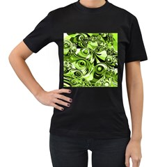 Retro Green Abstract Women s T Shirt (black) by StuffOrSomething