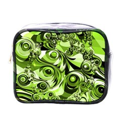 Retro Green Abstract Mini Travel Toiletry Bag (one Side) by StuffOrSomething